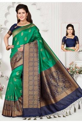 Green,Blue Colour Designer Sari.