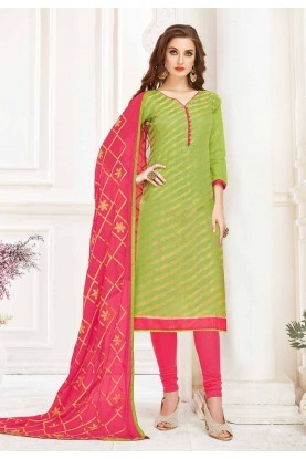 Buy Designer salwar kameez online in Green Colour