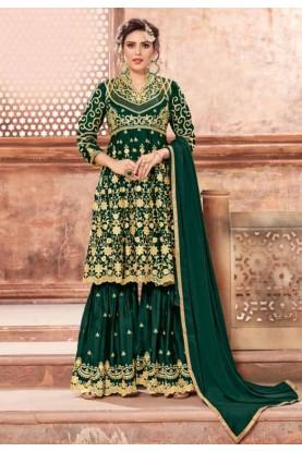 Green Colour Sharara Designer salwar kameez online