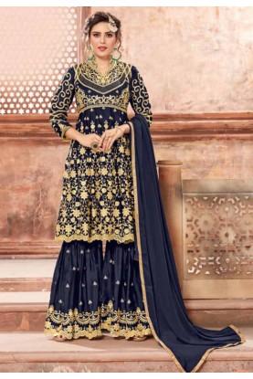Blue Colour Sharara Salwar Suit Designer salwar kameez online
