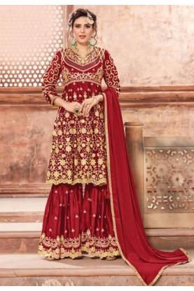 Red Sharara Designer salwar kameez online