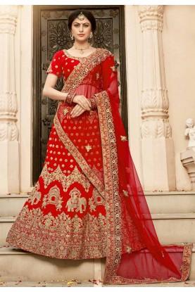 Buy designer wedding lehengas choli in red colour