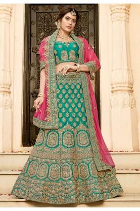 Buy designer wedding lehengas in green colour online