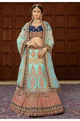 Buy designer wedding lehengas in turquoise Colour
