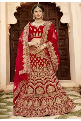 Buy designer wedding lehengas in red colour for Bridal