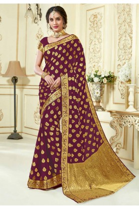 Maroon Colour Silk Saree.