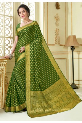 Green Colour Indian Saree.