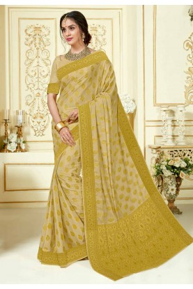 Beige Indian Designer Sari.