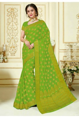 Green Colour Indian Traditional Sari.