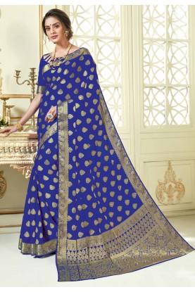 Blue Colour Crepe Silk Sari.