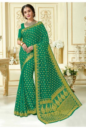 Green Colour Designer Sari.