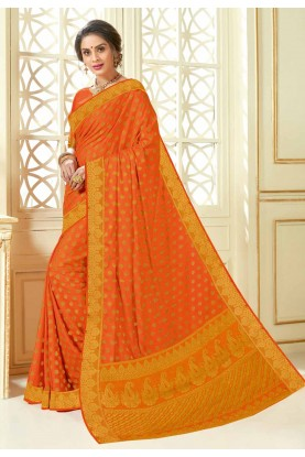 Orange Colour Party Wear Sari.