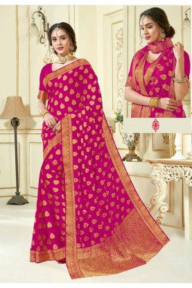 Magenta Colour Crepe Silk Sari.