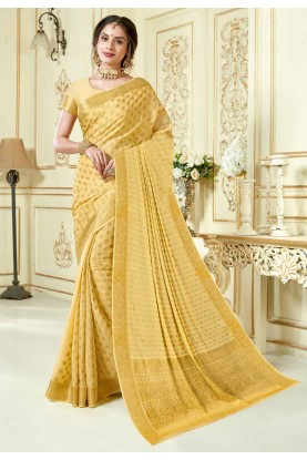 Beige Colour Indian Sari.