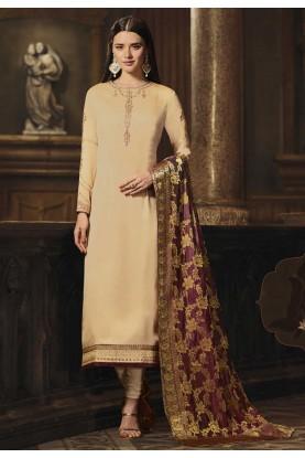Buy Party Wear salwar kameez online in Cream Colour