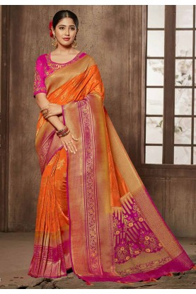 Buy Designer traditional sarees in orange,pink colour