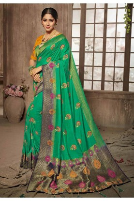 Buy Designer Sarees Green Colour Indian Saree