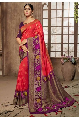 Buy Designer party wear sarees in red,purple colour