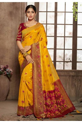Buy Designer Sarees in yellow, red colour