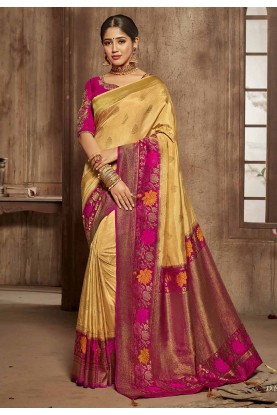 Buy Designer Sarees in Cream,Pink Colour