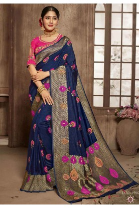 Buy Designer Sarees in Blue Colour