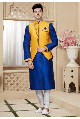 Blue,Yellow Designer Kurta Pajama Jacket.