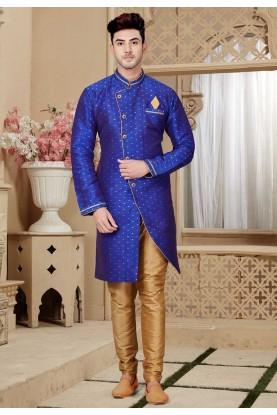 Royal Blue Colour Party Wear Kurta Pajama.