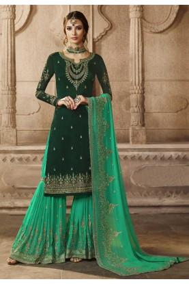 Green Colour Sharara Salwar Suit.