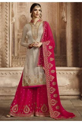 Grey Colour Georgette Salwar Suit.