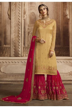Yellow Colour Designer Sharara Salwar Suit.