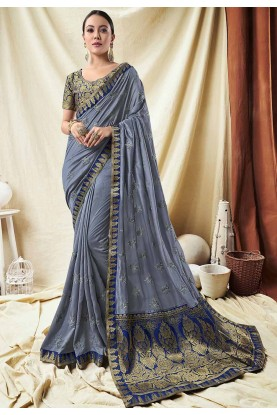 Grey Colour PartY Wear Saree.