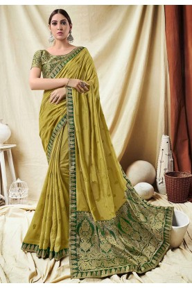 Yellow Colour Indian Designer Sari.