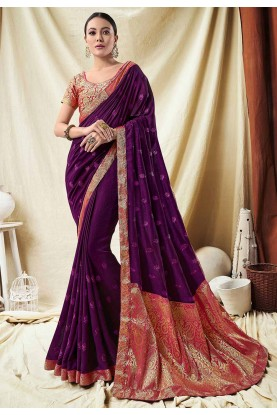 Purple Colour Indian Designer Saree.