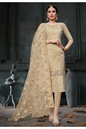 Cream Colour Party Wear Salwar Suit.