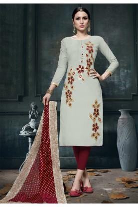 Off White Colour Cotton Salwar Kameez.