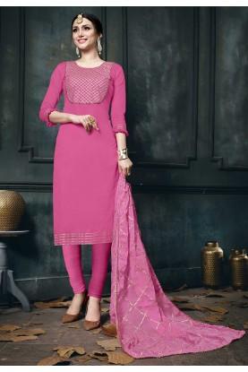 Pink Colour Party Wear Salwar Kameez.