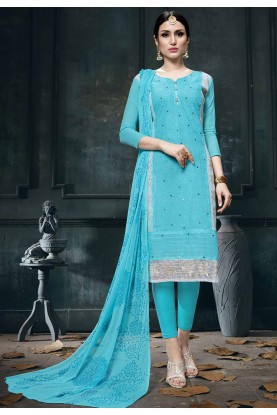Blue Colour Cotton Salwar Suit.