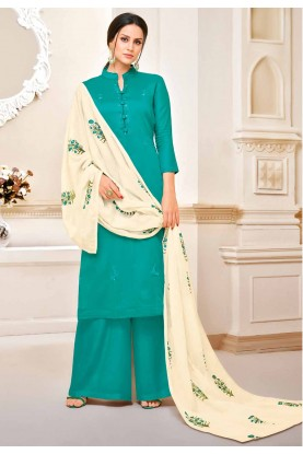 Green Colour Cotton Salwar Suit.