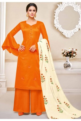 Orange Colour Casual Salwar Suit.