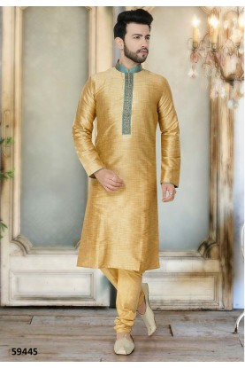 Beige Colour Silk Kurta Pajama.