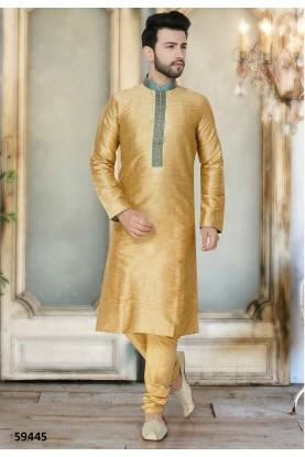 Beige Colour Silk Kurta Pajama.