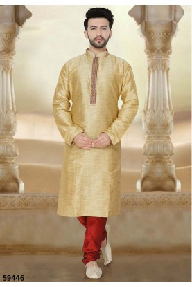 Beige Colour Readymade Kurta Pajama.