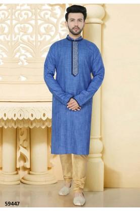 Blue Colour Kurta Pyjama.