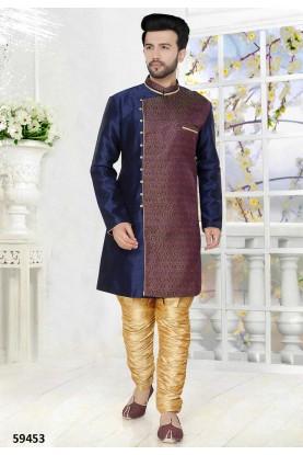 Buy wedding kurta pyjama online in blue colour