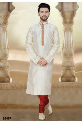 Buy kurta pyjama online in off White Colour
