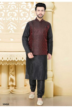 Buy designer kurta pajama in black, maroon