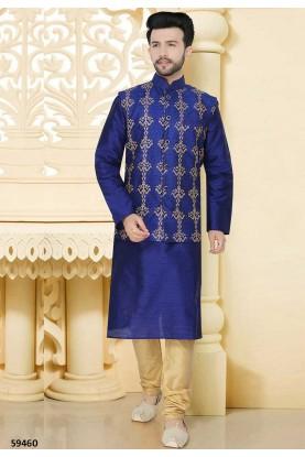 Buy designer kurta pajama in blue colour for wedding