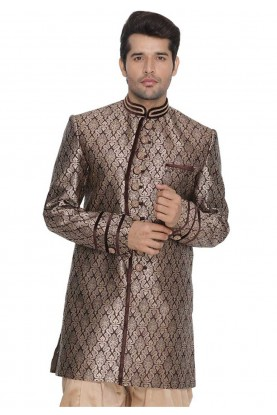 Brown Colour Cotton Silk Indowestern.