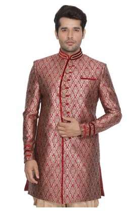 Maroon Colour Men's Indowestern.