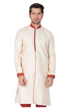 Cream Colour Plain Indowestern.